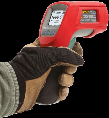 Et ATEX-godkjent, håndholdt termometer fra Fluke kan brukes i eksplosive soner.