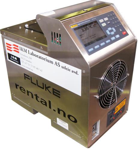 En Fluke 7109A temperatur kalibrator i rustfritt stål med digitalt display