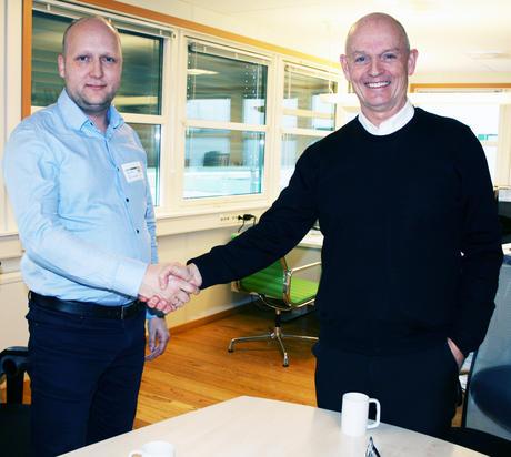 Stian P. Norland, daglig leder Norasol og Ståle Kyllingstad, konsern sjef, IKM Gruppen.