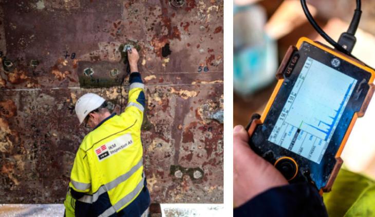 Tor svendsen og Arild Kvanvik i fra IKM Inspection i gang med ultralydaparatet som måler ståltykkelse